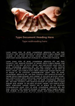 Cupped Hands Word Template, Cover Page, 07417, Business — PoweredTemplate.com