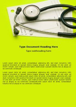 Phonendoscope With Medical Records Word Template, Cover Page, 07449, Medical — PoweredTemplate.com