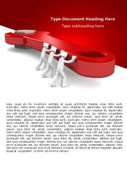 Red Wrench Word Template, Cover Page, 07454, Business — PoweredTemplate.com