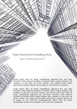 Business Center In Graphic Mode Word Template, Cover Page, 07460, Construction — PoweredTemplate.com
