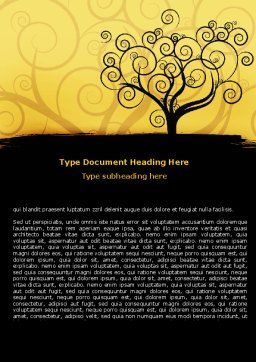 Silhouette Of Tree On The Yellow Background Word Template Cover Page