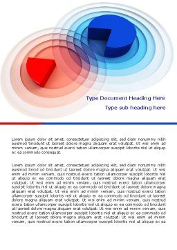 3D Pie Red Blue Colored Diagram Word Template Cover Page