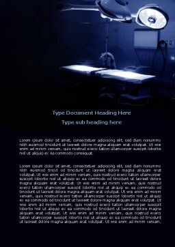 Operation Room In Dark Blue Word Template, Cover Page, 07560, Medical — PoweredTemplate.com