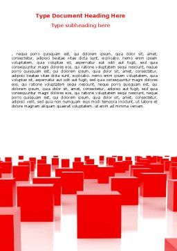 Free Red Cubes Word Template, Cover Page, 07567, Business — PoweredTemplate.com