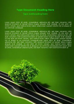 Trees and Roads Word Template, Cover Page, 07581, Nature & Environment — PoweredTemplate.com