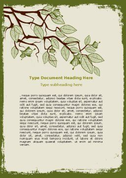 Spring Tree Stick Word Template, Cover Page, 07591, Nature & Environment — PoweredTemplate.com