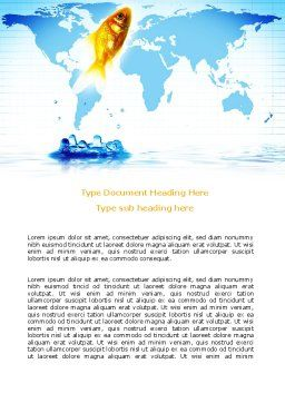 Goldfish Jumping Up Word Template, Cover Page, 07592, Business Concepts — PoweredTemplate.com