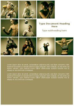 Sport Activities Word Template, Cover Page, 07597, People — PoweredTemplate.com