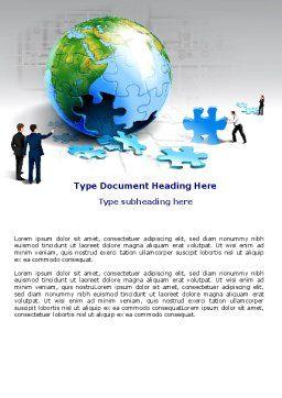 Finalization Of Jigsaw World Word Template, Cover Page, 07611, Global — PoweredTemplate.com