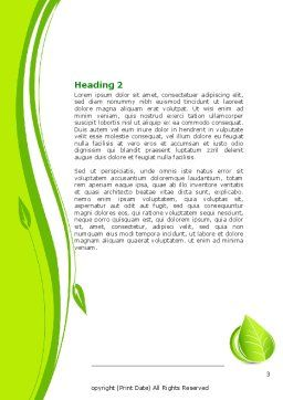 Tender Green Spring Leaf Word Template, Second Inner Page, 07618, Nature & Environment — PoweredTemplate.com