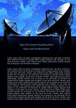 Parabolic Antennas of Long Range Communication Word Template, Cover Page, 07620, Telecommunication — PoweredTemplate.com