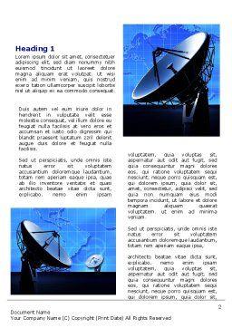 Parabolic Antennas of Long Range Communication Word Template, First Inner Page, 07620, Telecommunication — PoweredTemplate.com