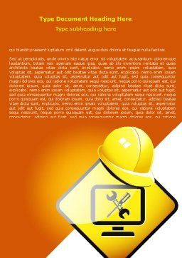 Tech Support Sign Word Template, Cover Page, 07627, Construction — PoweredTemplate.com