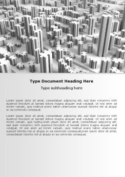 Jigsaw City Word Template, Cover Page, 07642, Consulting — PoweredTemplate.com