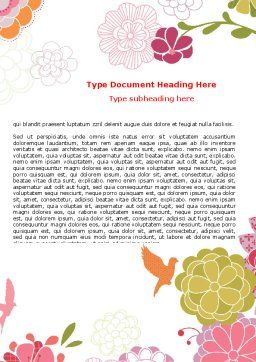 Pink Floral Theme Word Template, Cover Page, 07650, Nature & Environment — PoweredTemplate.com