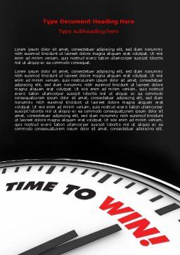 Time to Win Word Template, Cover Page, 07651, Consulting — PoweredTemplate.com