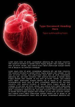 Model Of Heart Word Template, Cover Page, 07662, Medical — PoweredTemplate.com