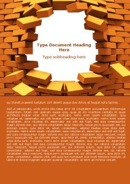 Broken Golden Wall Word Template, Cover Page, 07685, Consulting — PoweredTemplate.com