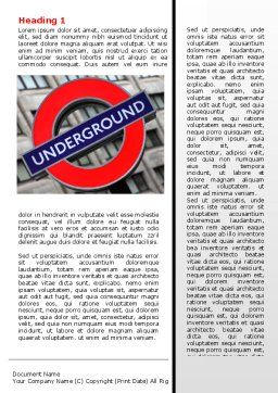 London Subway Word Template First Inner Page