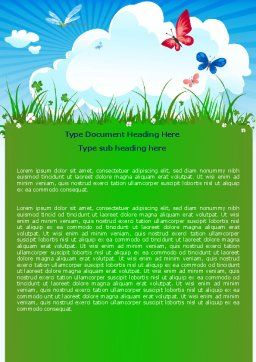 Summer Meadow Word Template, Cover Page, 07697, Nature & Environment — PoweredTemplate.com