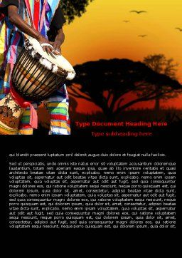 African Drum Word Template, Cover Page, 07744, Flags/International — PoweredTemplate.com