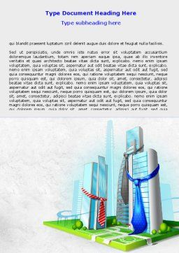 Business Buildings Word Template, Cover Page, 07750, Business — PoweredTemplate.com