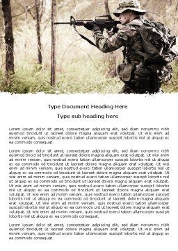 Camouflage Soldier Word Template, Cover Page, 07766, Military — PoweredTemplate.com