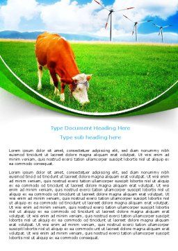 Grazing Cow Word Template, Cover Page, 07811, Agriculture and Animals — PoweredTemplate.com