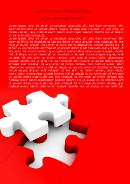 White Jigsaw on Red Word Template, Cover Page, 07836, Consulting — PoweredTemplate.com