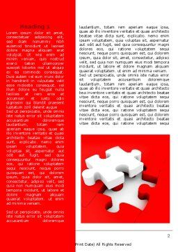 White Jigsaw on Red Word Template, First Inner Page, 07836, Consulting — PoweredTemplate.com