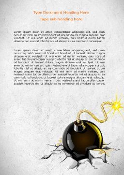 Bomb With Burning Wick On Crashed Ground Word Template, Cover Page, 07838, Consulting — PoweredTemplate.com