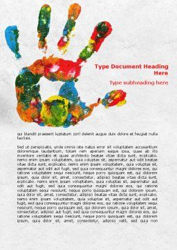 Colorful Hand Print Word Template Cover Page
