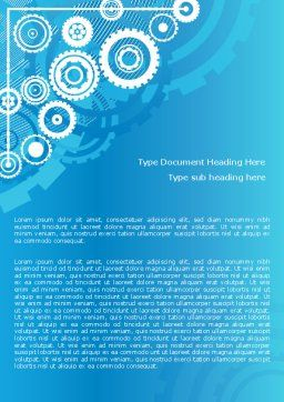 Pinion Blue Theme Word Template, Cover Page, 07847, Business — PoweredTemplate.com