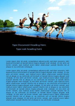 Swimming Party Word Template, Cover Page, 07851, People — PoweredTemplate.com