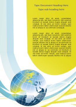 Yellow Globe Theme Word Template Cover Page