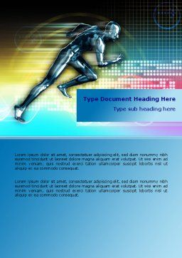 Running Iron Man Word Template, Cover Page, 07928, Sports — PoweredTemplate.com