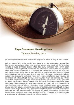 Compass in Sand Word Template, Cover Page, 07942, Business — PoweredTemplate.com