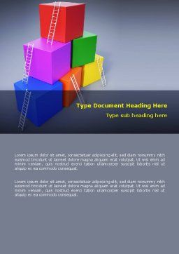 Pyramid of Cubes Word Template, Cover Page, 07947, Consulting — PoweredTemplate.com