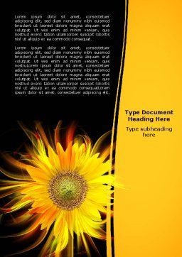Flaming Sunflower Word Template Cover Page