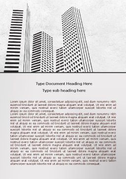 Gray Skyscrapers Word Template, Cover Page, 07974, Construction — PoweredTemplate.com