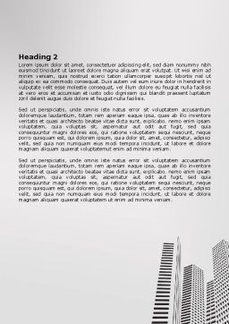 Gray Skyscrapers Word Template, Second Inner Page, 07974, Construction — PoweredTemplate.com