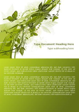 Green Butterfly Theme Word Template, Cover Page, 08009, Nature & Environment — PoweredTemplate.com