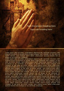 Prayer Hands Word Template, Cover Page, 08023, Religious/Spiritual — PoweredTemplate.com