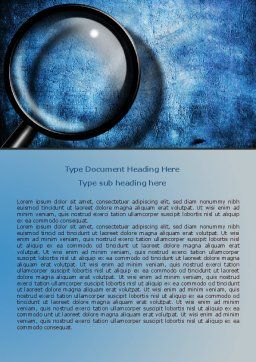 Magnifier On A Blue Parchment Word Template, Cover Page, 08041, Consulting — PoweredTemplate.com