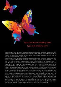 Color Butterfly Word Template, Cover Page, 08054, Nature & Environment — PoweredTemplate.com