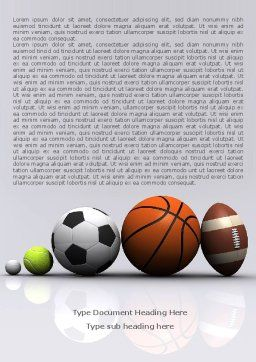 Sport Balls Word Template, Cover Page, 08071, Sports — PoweredTemplate.com