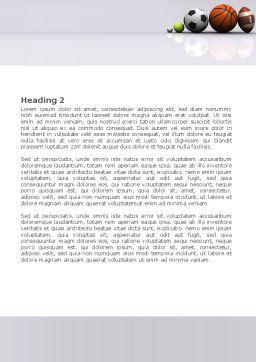Sport Balls Word Template, Second Inner Page, 08071, Sports — PoweredTemplate.com