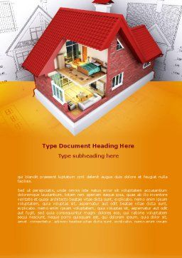 House Model Creation Word Template, Cover Page, 08092, Construction — PoweredTemplate.com