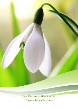 First Snowdrop Word Template, Cover Page, 08093, Nature & Environment — PoweredTemplate.com