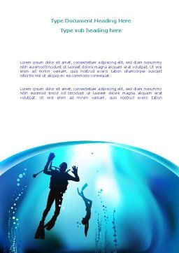 Diving Lessons Word Template, Cover Page, 08111, Sports — PoweredTemplate.com